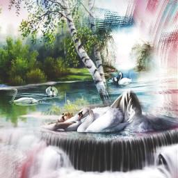 freetoedit swans lakes trees stickerremix
