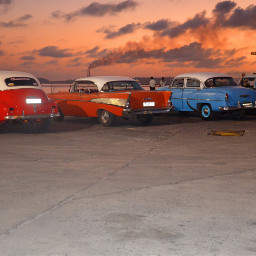 cuba cars sunset