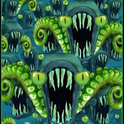 piranha creatures underwater tentacles bigeyes vip artisticfx oil blur madewithpicsart parietalimagination freetoedit