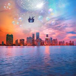 freetoedit cityview citylights lakeside airballoon