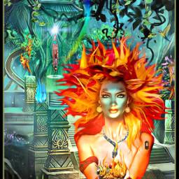 jungle fire tribal ritual woman freetoedit ircnaturalcanvas