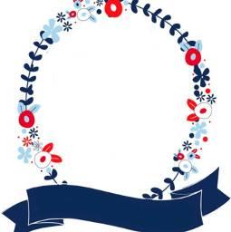 redwhiteandblue banner label frame wreath freetoedit
