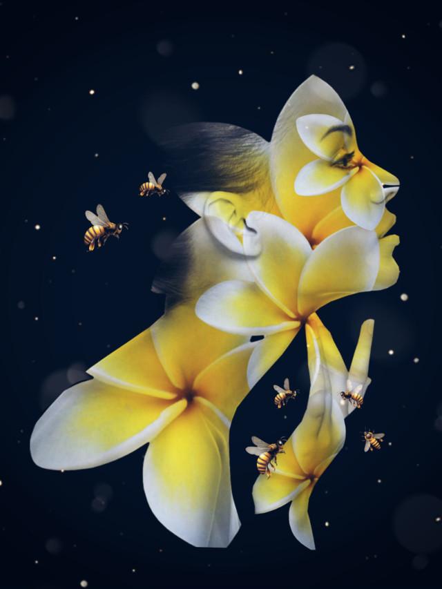 #artisticportrait #selfieflower #flower by @mayapdn bees by @7seals #doubleexposure #drawtools #layers #madewithpicsart #editedstepbystep