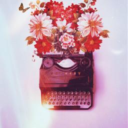 freetoedit irctypewriter typewriter flowers butterflies