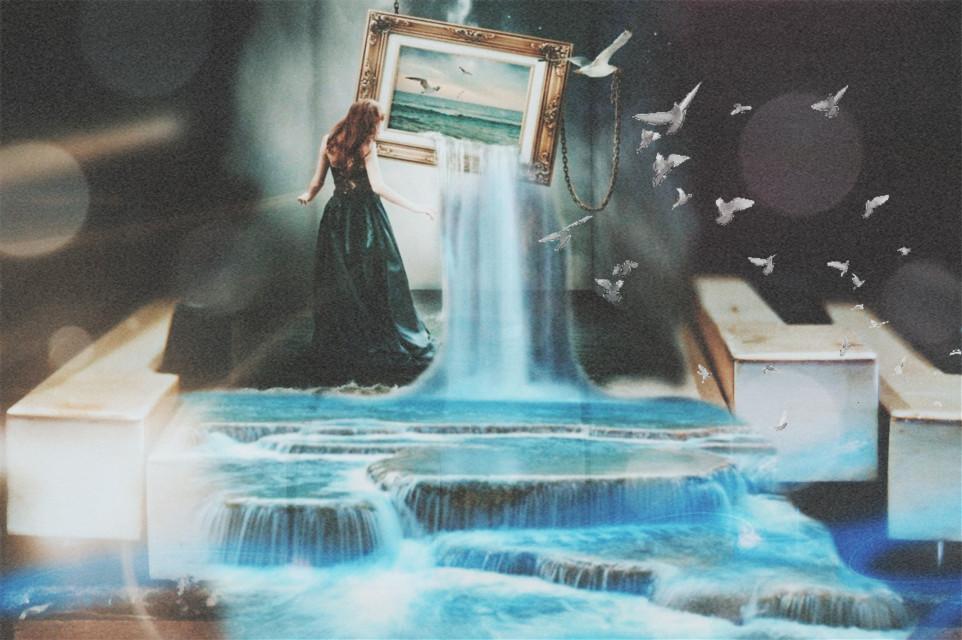 #freetoedit #surrealism #waterfall #girl