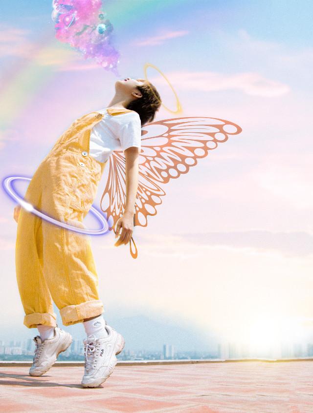 #freetoedit #neoneffect #sunset #rainbow #wings #crown