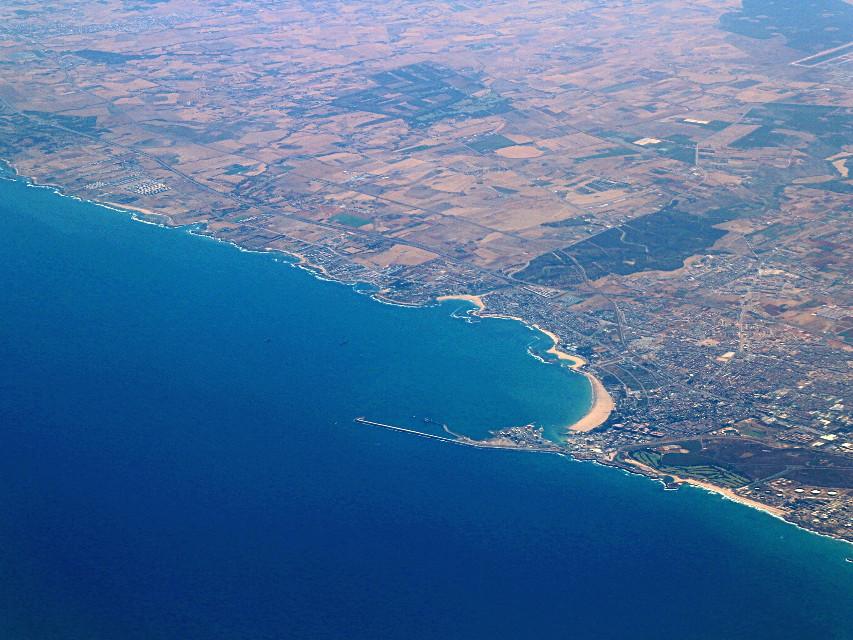 In volo sull' Atlantico #freetoedit #viewfromabove #bluesea #land #myphotography