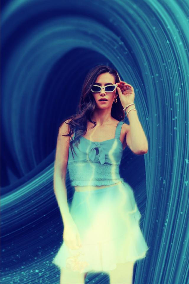#freetoedit #lightning #blue #woman #girl