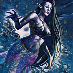 freetoedit midnightmagiceffect oilpaintingeffect mermeid mermaid srcmermaidoftheday