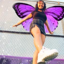 freetoedit butterfly butterflies wings girl