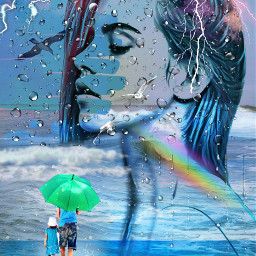 freetoedit female oceanwaves raindrops rainbow myeditoffreetoedit
