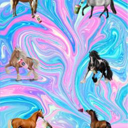 glitter swirls starbucks horses colurful freetoedit