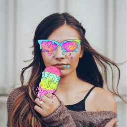 freetoedit grimeart girl glasses icecream