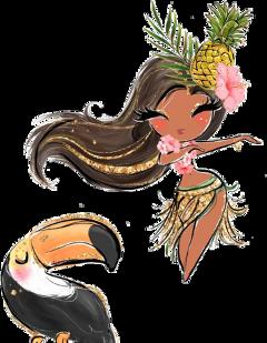 watercolor tropical bellydancer parrot hawaiian freetoedit