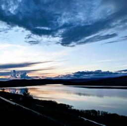 dusk lake silent clouds