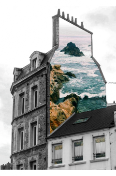ftestickers fantasyart building sea doubleexposure freetoedit