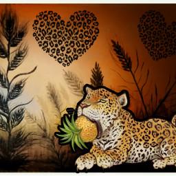 leopard secret? pineapple sticker freetoedit
