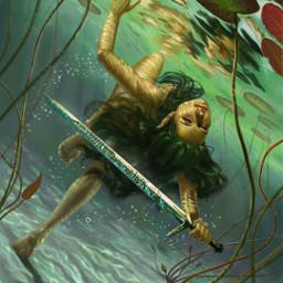 woman water sword sea freetoedit