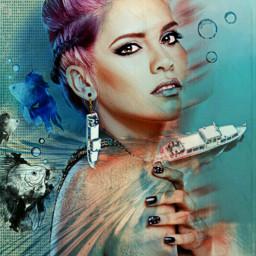freetoedit watermirror boat woman earring