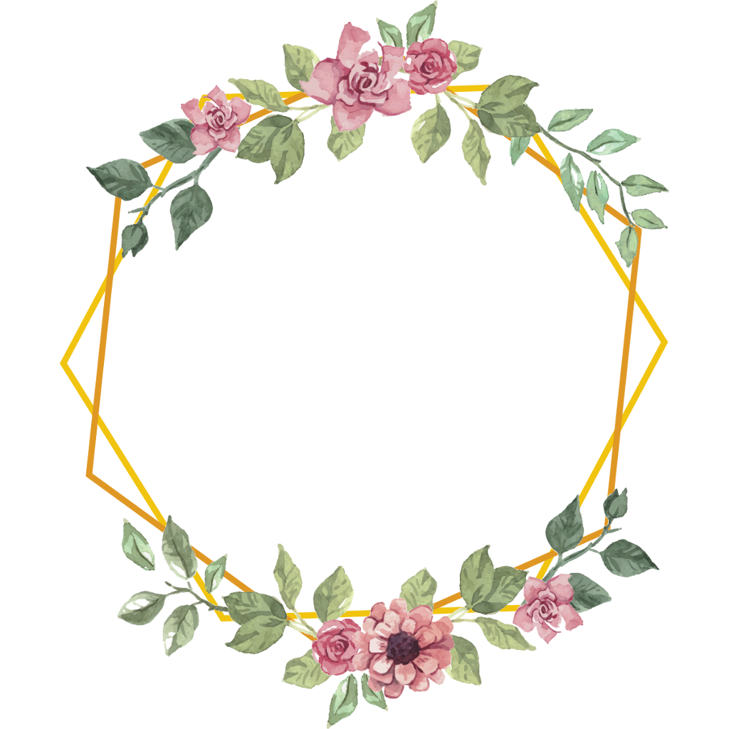 geometric frame gold flowers floral bouquet shape roses