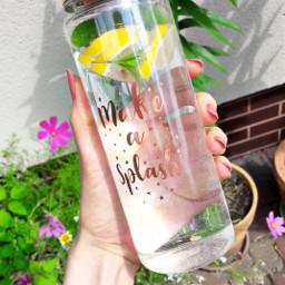 bottle water splash rosegold healthy freetoedit