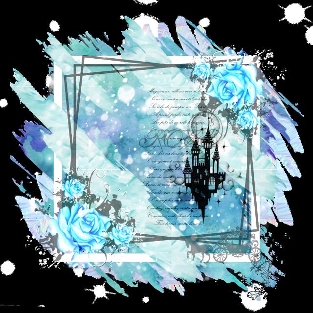 #blue #rose #frame #castle #background #remix #vjaii