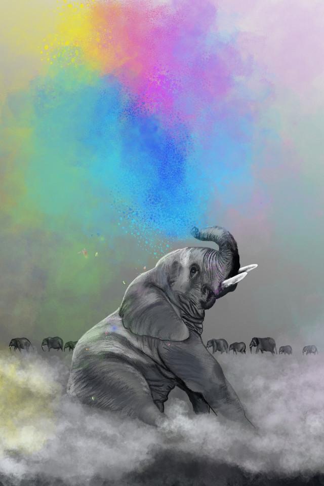 #freetoedit  #dcjungles #jungles #art #digitalart #animals #artofanimal #artanimal #elephants  #elephant #africa #nature #natureart #rainbow