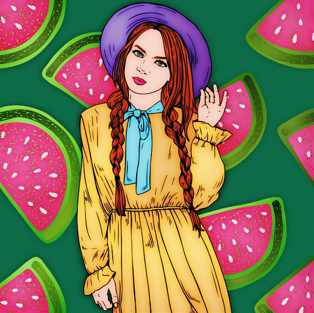 #cutegirl #watermelon #patterndesign #background  #freetoedit #picsart #recolorapp #pixeristFx