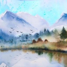 freetoedit watercolor paiting landscape trees ircwatercolor