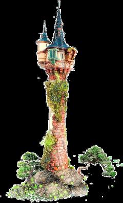 watercolor tower rapunzel castle princess freetoedit