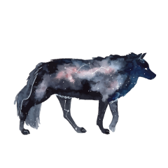 ftestickers wolf galaxy constellation doubleexposure freetoedit