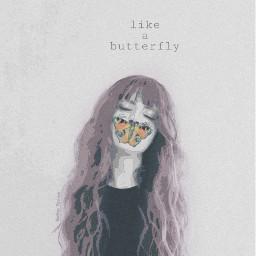 freetoedit butterfly tumblr girl edit