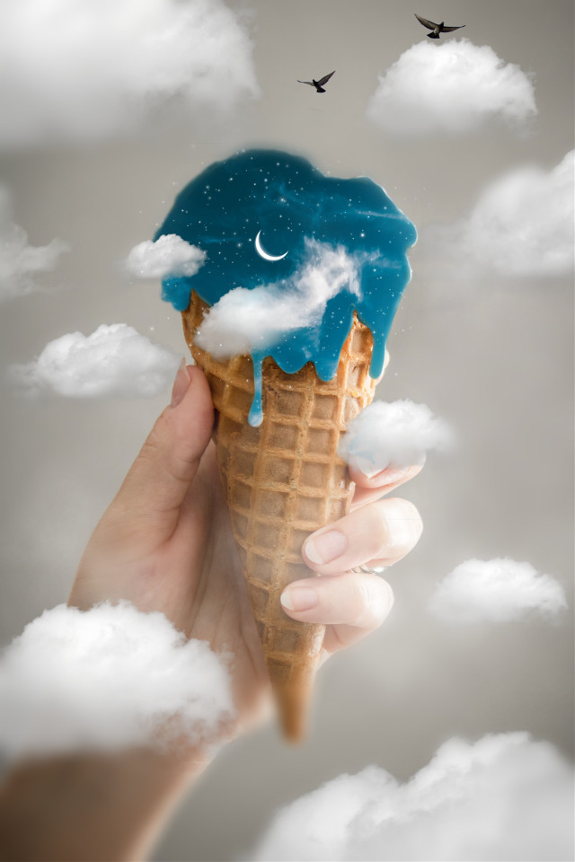 #freetoedit #icecream #cone #icecreamcone #cloud #clouds #hand #bird #birds #smoke @freetoedit @picsart