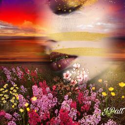 freetoedit woman sunsets cloudyskies bedofflowers myeditoffreetoedit