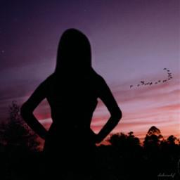 freetoedit sunset silhouette girl nature
