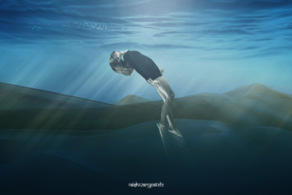 """""""He was swimming in a sea of other people's expectations. Men had drowned in seas like""""      #freetoedit#drown#light#water#watersurface#underwater#girl#sand#desert#dunes"""