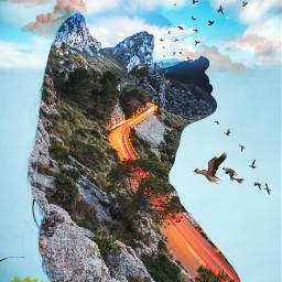 freetoeditfemale shilloutte rocks highway hillside myeditoffreetoedit freetoedit