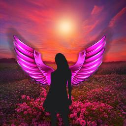 freetoedit fantasyart angel fairy meadow