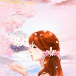freetoedit woman flowers petals cherryblossoms
