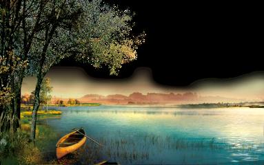 ftestickers landscape scenery lake boat freetoedit