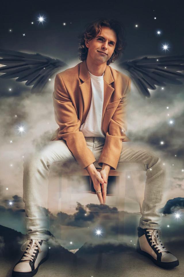 #freetoedit #man #angel #sky