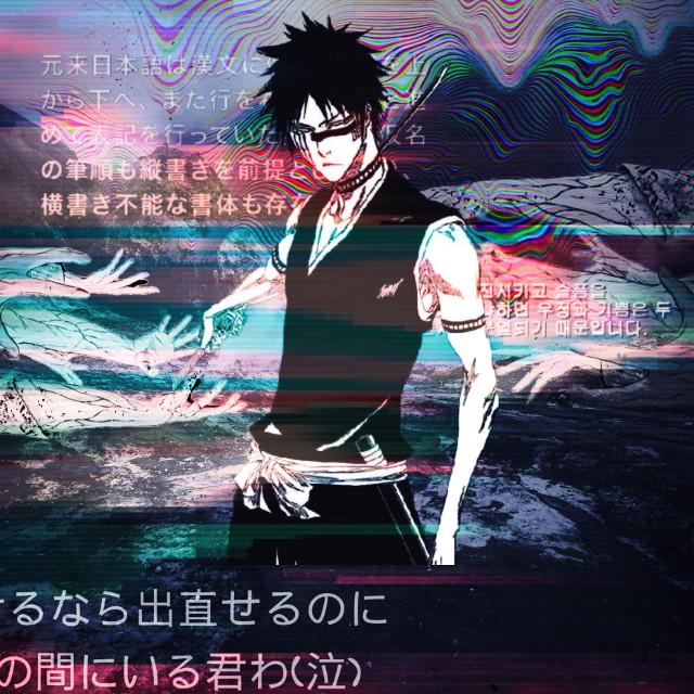#bleach #anime #male #animeboy #animeguy #glitch #clouds #white #black #japanese #japanesetext #korean #text #phrase