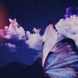 freetoedit sky mountains castle fairy