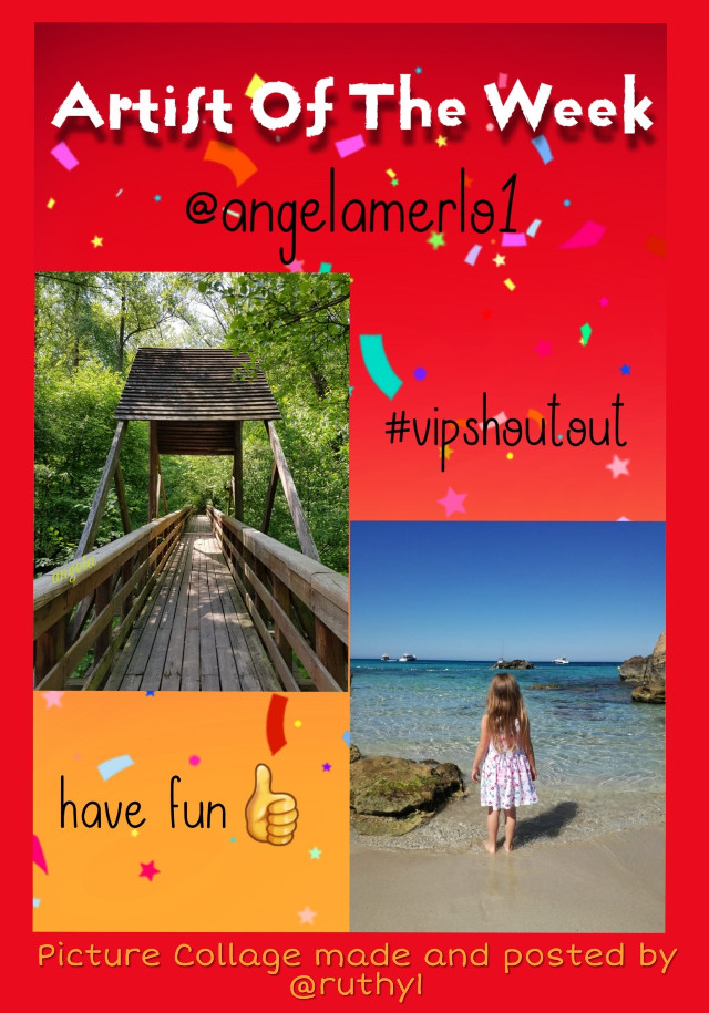 Congratulations to @angelamerlo1 Artist of the Week and #vipshoutout photography gallery.  She has beautiful photography for both enjoyment and remixing.  You will enjoy your visit to her gallery!  PICTURE URLS 1. https://picsart.com/i/290554221047201 2. https://picsart.com/i/298811673085201  Project posted and collage picture made by @ruthy1  #nofeature