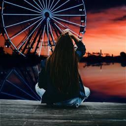 freetoedit girl woman people sunset