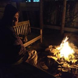 fire campfire night darkness seat freetoedit