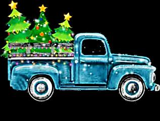 watercolor truck christmas christmastruck trees freetoedit