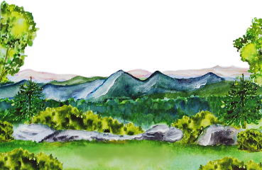 watercolor mountains forest woods trees scenic freetoedit