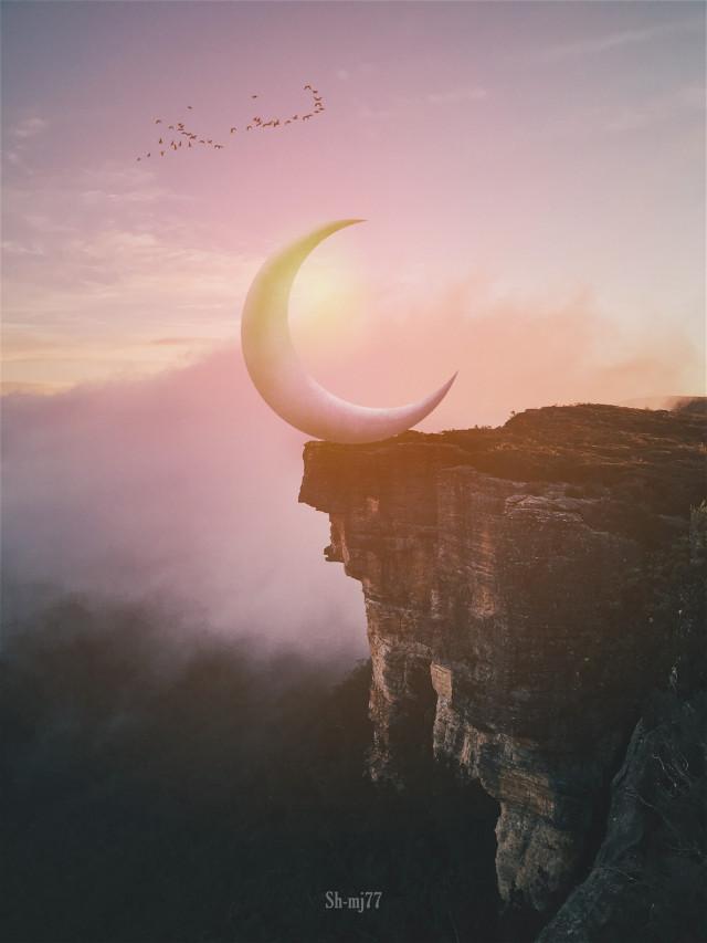 #freetoedit#moon#hills#sun#birds#nature