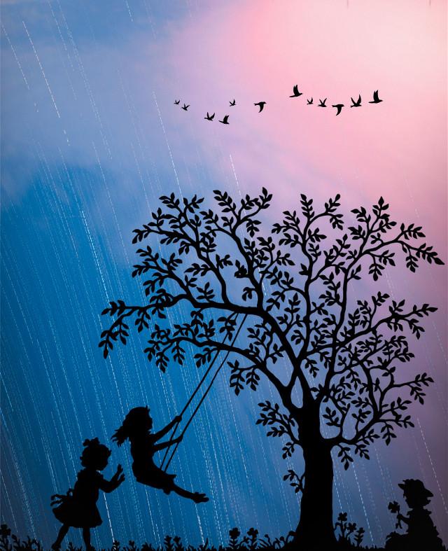 Childhood 🤼 #freetoedit  #madewithpicsart @picsart #art #silhouette #stars #night #nightsky #beautiful #love #nature #colorful